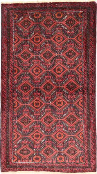 Beluch Koberec 105X186 Orientální Ručně Tkaný Tmavě Červená/Červenožlutá (Vlna, Persie/Írán)