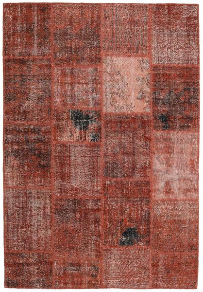Patchwork Koberec 159X232 Moderní Ručně Tkaný Tmavě Červená/Světle Hnědá (Vlna, Turecko)