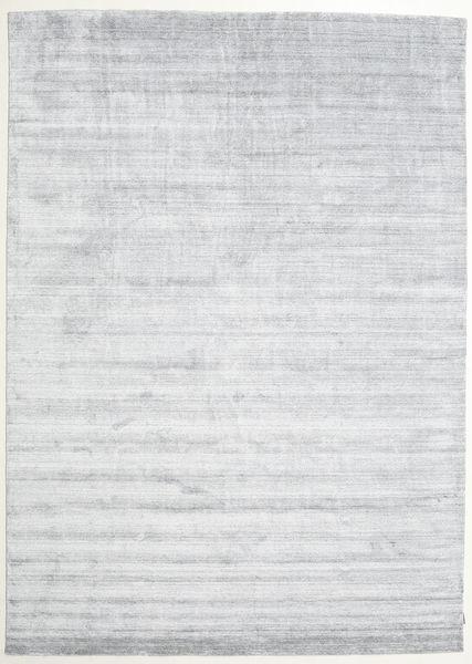 Bamboo Hedvábí Loom - Šedá Koberec 250X350 Moderní Bílý/Krém/Světle Šedá Velký ( Indie)