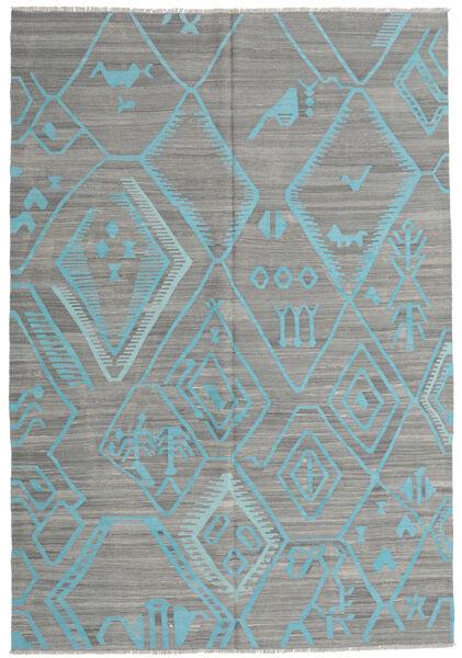 Kelim Moderní Koberec 203X292 Moderní Ruční Tkaní Tmavošedý/Světle Šedá/Tyrkysově Modré (Vlna, Afghánistán)