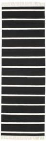 Dorri Stripe - Černá/White Koberec 80X250 Moderní Ruční Tkaní Běhoun Černá/Bílý/Krém (Vlna, Indie)