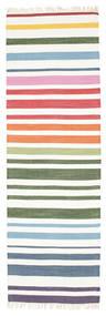 Rainbow Stripe - White Koberec 80X250 Moderní Ruční Tkaní Běhoun Béžová/Bílý/Krém (Bavlna, Indie)