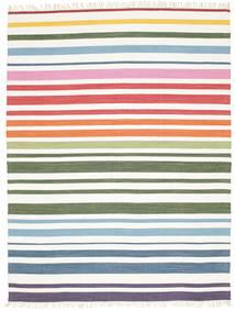 Rainbow Stripe - White Koberec 200X250 Moderní Ruční Tkaní Béžová/Bílý/Krém (Bavlna, Indie)
