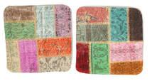 Patchwork Povlak Na Polštář Koberec 50X50 Orientální Ručně Tkaný Čtvercový Tmavá Béžová/Pastelově Zelená (Vlna, Turecko)