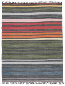 Rainbow Stripe - Šedá Koberec 250X300 Moderní Ruční Tkaní Tmavošedý/Olivově Zelený Velký (Bavlna, Indie)
