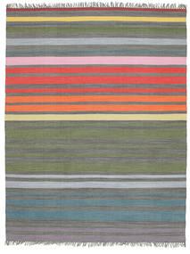 Rainbow Stripe - Šedá Koberec 200X250 Moderní Ruční Tkaní Světle Šedá/Olivově Zelený (Bavlna, Indie)