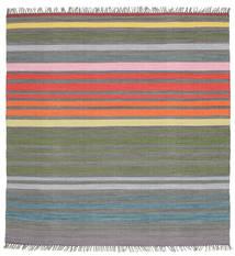 Rainbow Stripe - Šedá Koberec 200X200 Moderní Ruční Tkaní Čtvercový Tmavošedý/Světle Šedá (Bavlna, Indie)