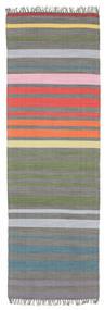 Rainbow Stripe - Šedá Koberec 80X250 Moderní Ruční Tkaní Běhoun (Bavlna, Indie)