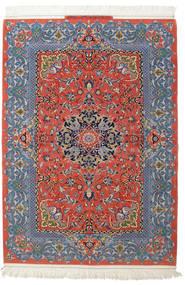 Isfahan Hedvábná Osnova Zaregistrováno: Haghighi Koberec 150X220 Orientální Ručně Tkaný Tmavošedý/Tmavě Červená (Vlna/Hedvábí, Persie/Írán)