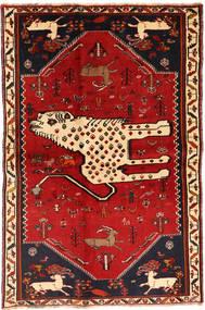 Ghashghai Koberec 134X211 Orientální Ručně Tkaný Tmavě Červená/Červenožlutá (Vlna, Persie/Írán)