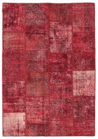 Patchwork Koberec 158X230 Moderní Ručně Tkaný Tmavě Červená/Červená (Vlna, Turecko)