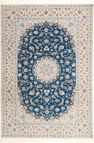 Nain 6La Habibian Koberec 204X304 Orientální Ručně Tkaný Světle Šedá/Bílý/Krém (Vlna/Hedvábí, Persie/Írán)