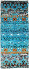 Quito - Turquoise Koberec 80X200 Moderní Ručně Tkaný Běhoun Tyrkysově Modré/Světle Šedá (Hedvábí, Indie)