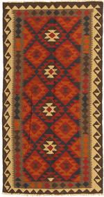 Kelim Maimane Koberec 99X194 Orientální Ruční Tkaní Červenožlutá/Tmavě Hnědá (Vlna, Afghánistán)