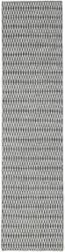 Kelim Long Stitch - Černá/Šedá Koberec 80X340 Moderní Ruční Tkaní Běhoun Světle Šedá/Tyrkysově Modré (Vlna, Indie)