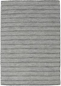 Kelim Long Stitch - Černá/Šedá Koberec 160X230 Moderní Ruční Tkaní Světle Šedá/Tmavošedý (Vlna, Indie)