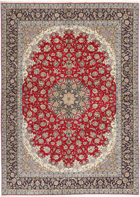 Isfahan Hedvábná Osnova Koberec 300X417 Orientální Ručně Tkaný Světle Šedá/Tmavě Červená Velký (Vlna/Hedvábí, Persie/Írán)