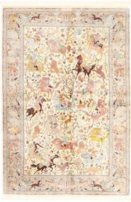 Ghom Hedvábí Koberec 140X211 Orientální Ručně Tkaný Béžová/Světle Růžová (Hedvábí, Persie/Írán)