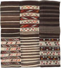 Kelim Patchwork Koberec 192X220 Moderní Ruční Tkaní Tmavě Hnědá/Béžová (Vlna, Turecko)