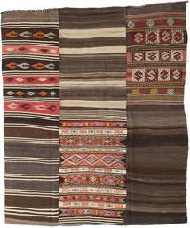 Kelim Patchwork Koberec 210X248 Moderní Ruční Tkaní Tmavě Hnědá/Tmavošedý (Vlna, Turecko)