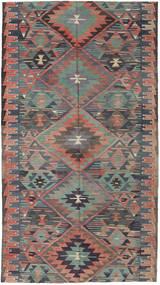 Kelim Turecko Koberec 163X292 Orientální Ruční Tkaní Tmavošedý/Světle Hnědá (Vlna, Turecko)