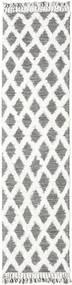 Inez - Tmavě Hnědá/White Koberec 80X300 Moderní Ruční Tkaní Běhoun Světle Šedá/Bílý/Krém (Vlna, Indie)