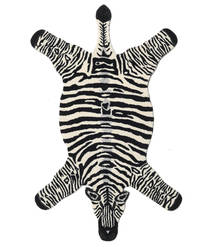 Zebra Koberec 100X155 Moderní Černá/Béžová (Vlna, Indie)