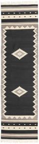 Tribal - Černá Koberec 80X300 Moderní Ruční Tkaní Běhoun Černá/Světle Šedá (Vlna, Indie)
