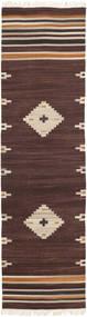 Tribal - Hnědá Koberec 80X300 Moderní Ruční Tkaní Běhoun Tmavě Hnědá/Béžová (Vlna, Indie)