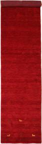 Gabbeh Loom Two Lines - Rudý Koberec 80X350 Moderní Běhoun (Vlna, Indie)