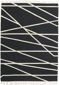 Cross Lines - Černá/Bělavý Koberec 160X230 Moderní Ruční Tkaní Tmavošedý/Béžová (Vlna, Indie)