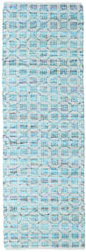 Elna - Bright_Blue Koberec 80X250 Moderní Ruční Tkaní Běhoun Světle Modrý/Tyrkysově Modré (Bavlna, Indie)