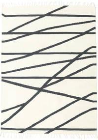 Cross Lines - Bělavý/Černá Koberec 160X230 Moderní Ruční Tkaní Béžová/Tmavošedý (Vlna, Indie)