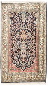 Kashmir Čistá Hedvábí Koberec 83X126 Orientální Ručně Tkaný Béžová/Tmavě Fialová (Hedvábí, Indie)