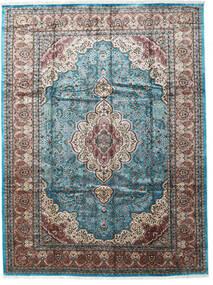 Kashmir Art. Hedvábí Koberec 276X370 Orientální Ručně Tkaný Světle Šedá/Černá Velký ( Indie)