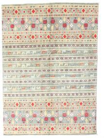 Kazak Koberec 142X199 Orientální Ručně Tkaný Béžová/Světle Šedá (Vlna, Pákistán)
