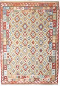Kelim Afghán Old Style Koberec 206X294 Orientální Ruční Tkaní Světle Šedá/Tmavě Červená (Vlna, Afghánistán)