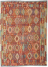 Kelim Afghán Old Style Koberec 253X348 Orientální Ruční Tkaní Tmavě Červená/Tmavá Béžová Velký (Vlna, Afghánistán)