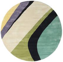 Dynamic Handtufted - Mint Koberec Ø 200 Moderní Oválný Tmavá Béžová/Tmavošedý/Pastelově Zelená (Vlna, Indie)
