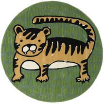 Cool Cat - Yellow Koberec Ø 150 Moderní Oválný Tmavě Zelený/Olivově Zelený (Vlna, Indie)
