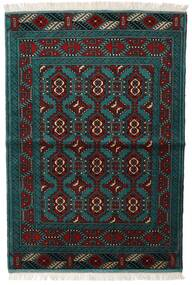 Turkaman Koberec 105X150 Orientální Ručně Tkaný Černá/Tmavý Turquoise (Vlna, Persie/Írán)