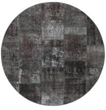 Patchwork - Persien/Iran Koberec Ø 200 Moderní Ručně Tkaný Oválný Tmavošedý/Černá (Vlna, Persie/Írán)