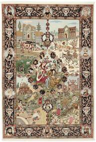 Tabriz 50 Raj Koberec 150X219 Orientální Ručně Tkaný Hnědá/Světle Hnědá (Vlna/Hedvábí, Persie/Írán)