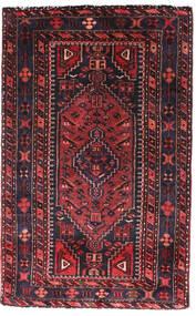 Hamedan Koberec 90X140 Orientální Ručně Tkaný Černá/Tmavě Červená (Vlna, Persie/Írán)