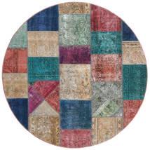 Patchwork - Persien/Iran Koberec Ø 200 Moderní Ručně Tkaný Oválný Světle Šedá/Tmavě Modrý (Vlna, Persie/Írán)