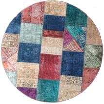 Patchwork - Persien/Iran Koberec Ø 200 Moderní Ručně Tkaný Oválný Tmavě Modrý/Nachový (Vlna, Persie/Írán)