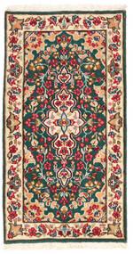 Kerman Koberec 62X118 Orientální Ručně Tkaný Béžová/Tmavošedý (Vlna, Persie/Írán)