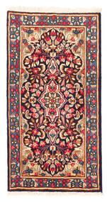 Kerman Koberec 58X112 Orientální Ručně Tkaný Tmavě Červená/Světle Růžová (Vlna, Persie/Írán)