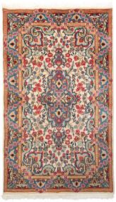 Kerman Koberec 85X145 Orientální Ručně Tkaný Béžová/Tmavě Červená (Vlna, Persie/Írán)