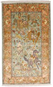 Kashmir Čistá Hedvábí Koberec 93X155 Orientální Ručně Tkaný Tmavá Béžová/Hnědá (Hedvábí, Indie)
